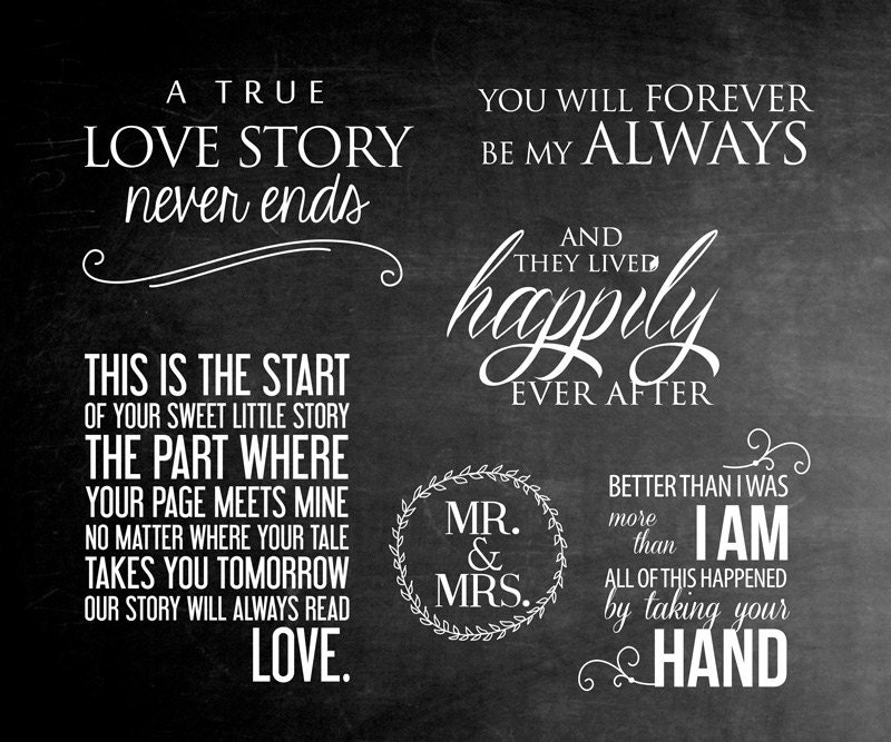 6 word overlays wedding phrases photo overlay text