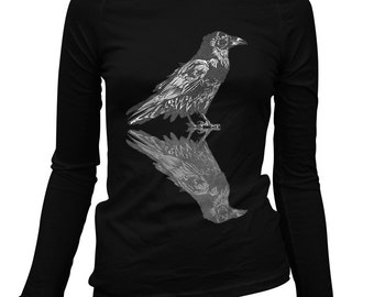 Women's Dual Raven Long Sleeve Tee - S M L XL 2x - Ladies' T-shirt, Crow, Bird, Nature, Horror - 2 Colors