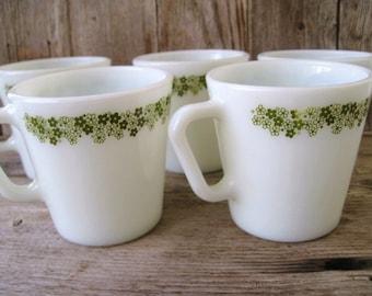 Vintage Pyrex Coffee Mugs, Kitchen Mugs, White Milk Glass Cups, Spring Blossom Green Floral Border Pattern, 1970s Tea Mugs, Retro Kitchen