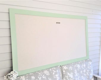 "Huge Designer Magnetic Bulletin Board and Handmade Wood Frame 35 x 60"" Magnetic Memo Message Board in Pale Mint Green and Tan MORE COLORS"