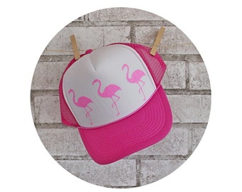 Flamingo Foam Front Trucker Hat With Glitter Vinyl, Foam Front Hat, Baseball Cap, NSO, Non Skating Official, Vacation, High front, Hot Pink