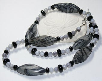 Zebra Jasper & Grey Howlite Handmade Necklace with Sterling Silver Clasp