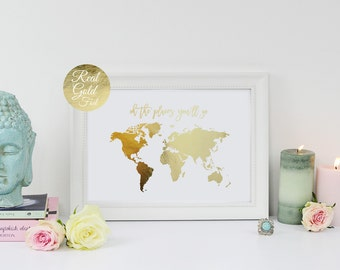 Gold foil world map etsy oh the places youll go world map poster real gold foil gumiabroncs Choice Image