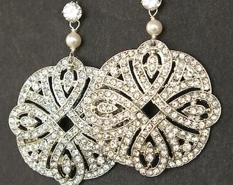 Art Deco Style Filigree Bridal Earrings, Vintage Style Rhinestone Wedding Earrings, Statement Bridal Jewelry, Sterling Silver Studs, ARDEN