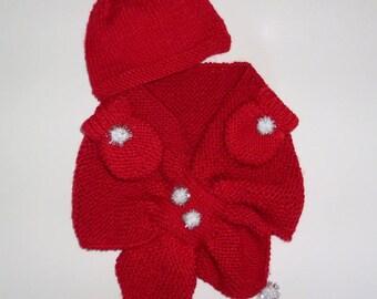 beanie baby, scarf and mittens Christmas 100% handmade.