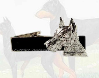 Dog Lover Tie Clip Inlaid in Hand Painted Glossy Black Enamel Neo Victorian Doberman Tie Bar Accent with Color Options
