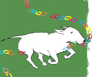 Bullie in Chains Bull Terrier Christmas Card set in Green Red grey or white