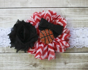 Miami Heat basketball headband, Chicago Bulls baby headband, red and black headband, basketball bow