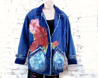 Altered couture jacket, embellished jacket,Upcycled jean jacket - ladies denim jacket, OOAK clothing, denim coat -    # 2