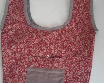 Bag organic reusable red patterns
