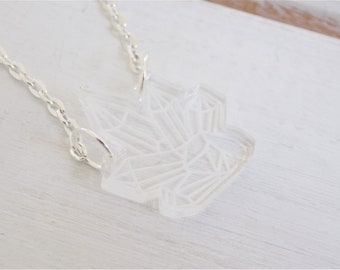 Mini clear crystal necklace - crystal cluster necklace - acrylic necklace - laser cut jewelry - minimal necklace - cute necklace