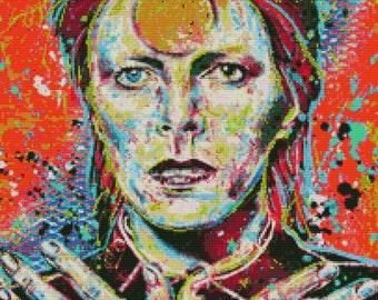 Modern Cross Stitch Kit 'David Bowie' By Sara Bowersock - Needlecraft Kit