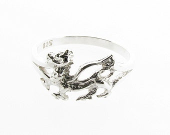 Sterling Silver Welsh Dragon Ring - UK Sizes K - Q - US 5 - 8