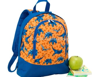 Monogrammed Dino-mite PreSchool  Blue Backpack, Personalized Dino-mite Toddler Backpack