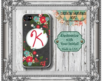 Floral Chalkboard iPhone Case, Winter iPhone Case, Monogram iPhone Case, iPhone 5, 5s, 5c, 4, 4s, iPhone 6, 6s, 6 Plus, SE, iPhone 7, 7 Plus