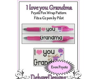 Bead Pattern Peyote(Pen Wrap/Cover)-I love you Grandma