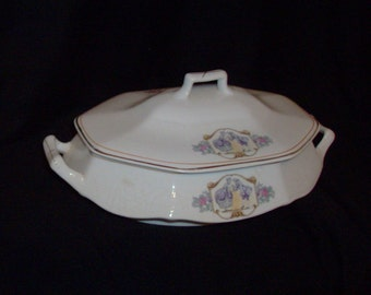Antique Art Nouveau Covered Vegetable Dish With 18th Century Couple