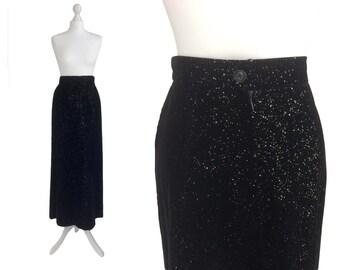 Black Velvet Skirt With Silver Speckles - Vintage 70's Skirt - 1970's Maxi Skirt - Silver Glitter Skirt