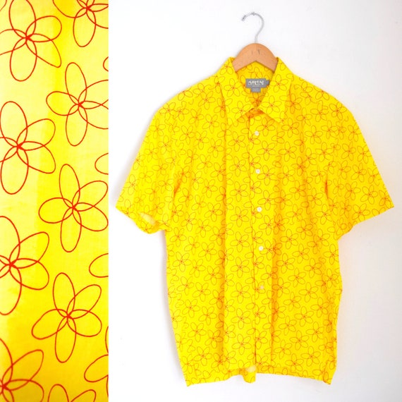 Vintage 80s 90s Nicole Miller Yellow and Orange Psychedelic Concentric Ovals Short Sleeved Button Down Shirt (size large)