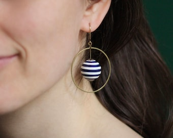 Earrings striped jersey navy blue