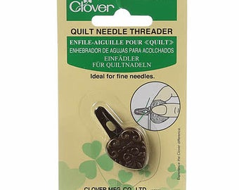 Quilt Needle Threader, Beading Needle Threader, Clover 466 - vintage look metal