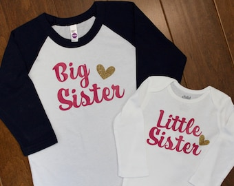 Big Sister, Little Sister, Big Sister Shirt, Little Sister Shirt, Big Sister, Sibling Shirts, Pregnancy Announcement, New Baby Announcement