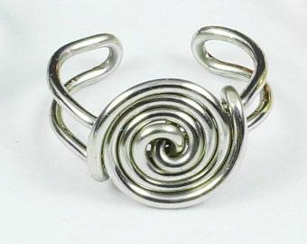 Spiral Button Ear Cuff - Silver