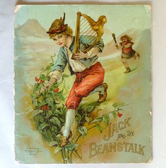 Jack and the Beanstalk 1897 McLoughlin Bros Publisher - Tinted Color Illustrations - Antique Children's Book