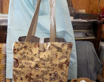 Shoulder Style Cotton Tote Bag, Old Fashion Flowers Tan Print