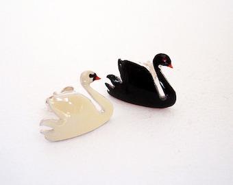 Swan Earrings - Enamel Stud Earrings - Swan Jewelry -  Black and White Swan - Sterling Silver Earrings for Women - Mother Gift from Daughter