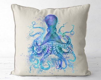 Beach house decor Blue Octopus Pillow Cover nautical decor nautical nursery beach decor octopus cushion octopus gifts nautical throw cushion