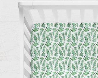 FERN CRIB BEDDING. Fern baby bedding. Leaves baby bedding. Green baby Bedding. Forest baby bedding. Fern baby blanket. Natural baby bedding