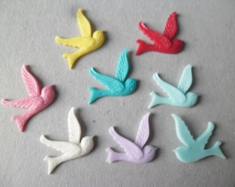 x 5 mixed shape bird cameos resin 26 x 23 mm