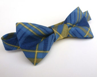 Boys Bow Tie- Blue and Yellow Plaid - Sizes newborn-adult