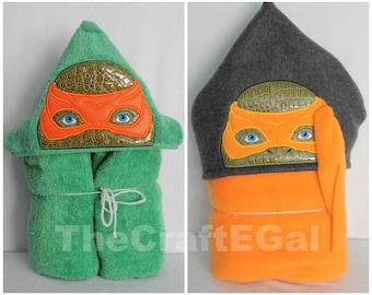 Towel OR Blanket - Orange Ninja Turtle - Hooded Towel - Hooded Blanket - Drive-in - Bath Towel - Beach Towel