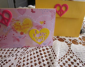 VALENTINE DAY CARD , Love Birds, Pinks and Yellows, Special Valentine, Romantic, Love, Sweetheart