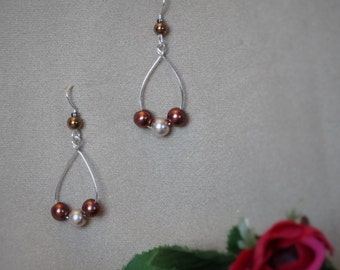 Delicate Pearly Earrings on Silver Wire, Cream and Brown Hoop Earrings - Perfect Valentine's Day Gift, Gift for Her!