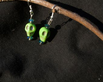 Bright Green Skull Earrings with Blue-Green Gem Stones