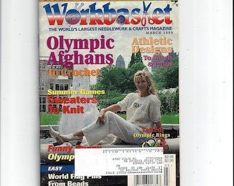 The WorkBasket and Home Arts Magazine, Olympic Issue, Patriotic, Flag, March 1996, Knitting, Crochet, & Needle Work Book, Vintage Craft Book