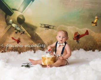 Vintage Airplane Smash Cake Outfit, Birthday Boy Outfit,  Diaper Cover ONLY