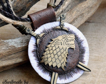 Direwolf pendant Direwolf necklace House Stark pendant House Stark necklace Game of Thrones Necklace Polymer clay jewelry for women Fan gift