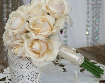 Real Touch Cream Rose Wedding Bouquet Simplicity