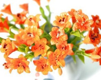 Miniature Tiger Lily Polymer Clay Flowers Supplies for Dollhouse 3 stems