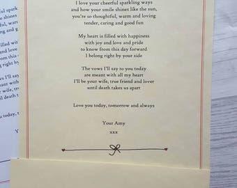Lettre personnalisé mariage, cadeau de fête de mariage pour elle, cadeau de mariage, cadeaux de mariage sentimental, premier anniversaire de papier, cadeau de demoiselle d'honneur