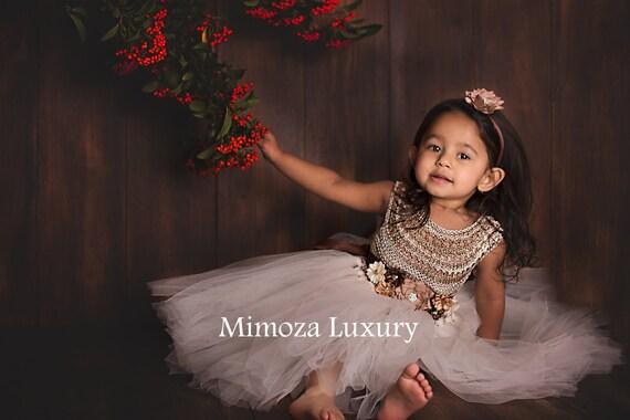 Flower girl dress, ivory girl tulle dress, cream beige tulle girl wedding dress, birthday dress, princess dress, ivory crochet top tulle