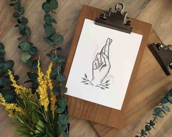 Fingers Crossed, Art Print