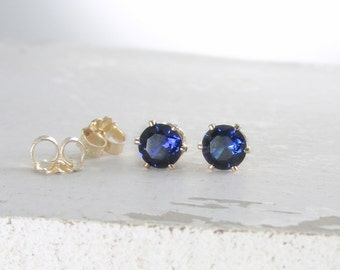 Gold Stud Earrings Sapphire Earrings Birthstone Stud Earrings September Birthstone Jewelry Sapphire Stud Earrings Blue Sapphire Earrings