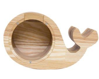 Whale Money Box - Piggy bank - Money Box - Custom Piggy Bank - Large Money Box - Personalized Bank - Large Piggy - Baby Shower Gift Wood