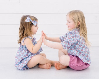 Girls Bubble Romper in Periwinkle Bloom Liberty London Print// Liberty London Floral Print Summer Romper// Baby Girl Outfit// Cake Smash