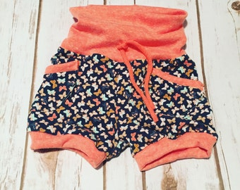 Girls Butterfly Shorts- Baby shorts- Shorties- Coral Butterfly Shorts